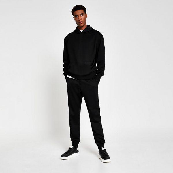 River Island Mens Black premium regular fit hoodie