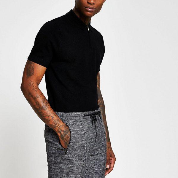 River Island Mens Black quarter zip cashmere blend polo shirt