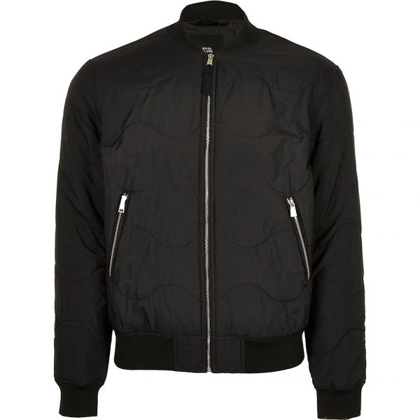 River Island Mens Black quilted bomber jacket