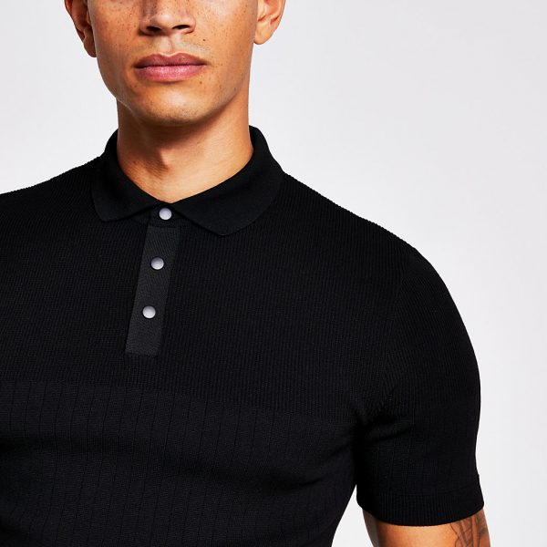 River Island Mens Black rib knitted muscle fit polo shirt