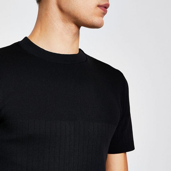 River Island Mens Black ribbed knitted muscle fit t-shirt