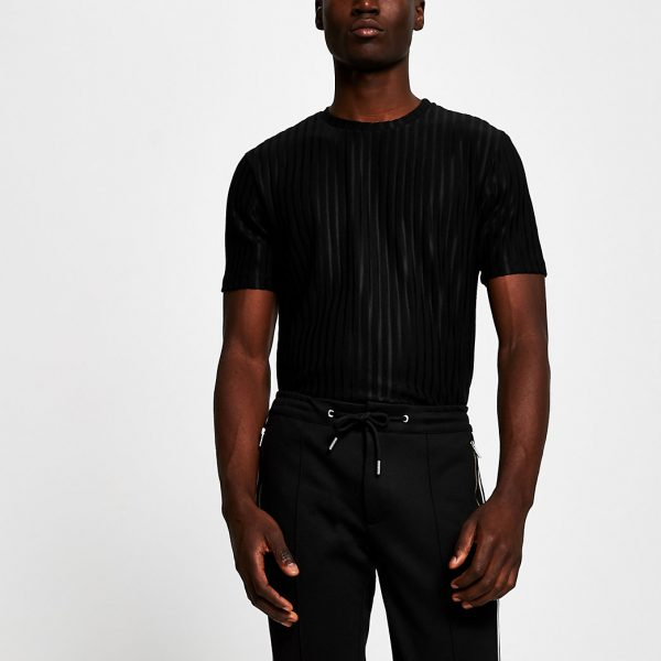 River Island Mens Black short sleeve slim ribbed t-shirt