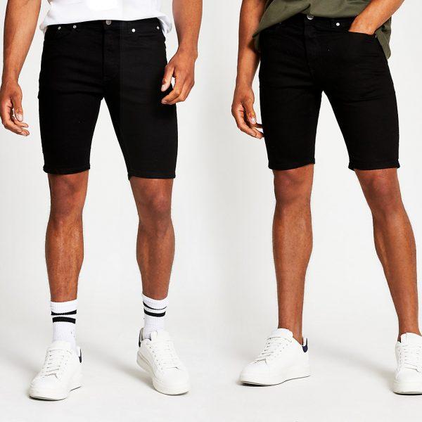 River Island Mens Black skinny denim shorts 2 pack