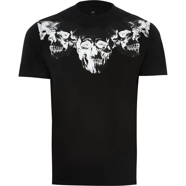 River Island Mens Black skull print slim fit t-shirt