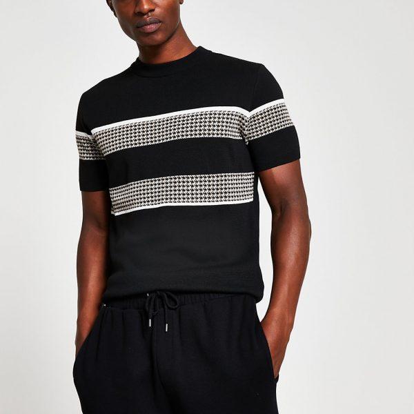 River Island Mens Black slim fit check block print t-shirt