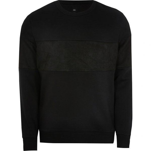 River Island Mens Black slim fit faux suede blocked sweatshirt