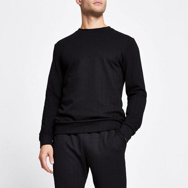 River Island Mens Black slim long sleeve chevron sweatshirt