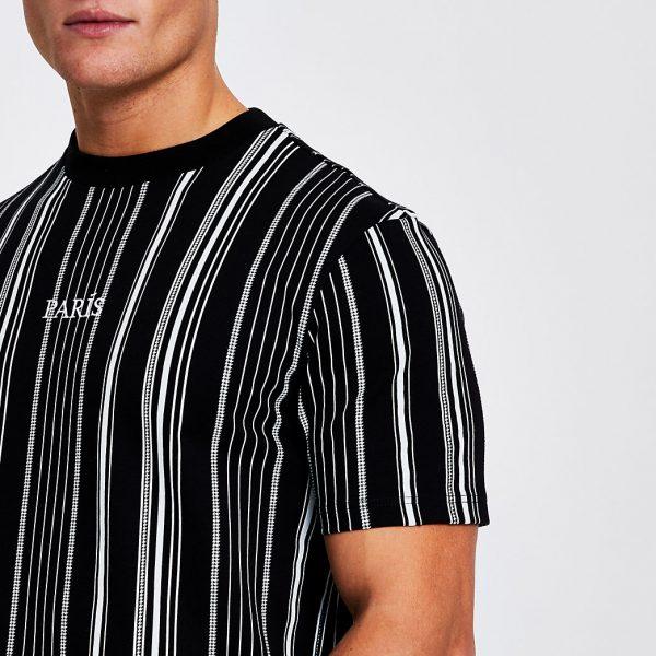 River Island Mens Black stripe 'Paris' short sleeve t-shirt