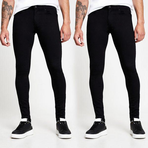 River Island Mens Black super skinny spray on jeans 2 pack