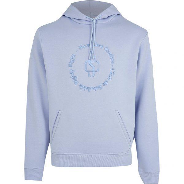 River Island Mens Blue 'Casa Studios' slim fit hoodie