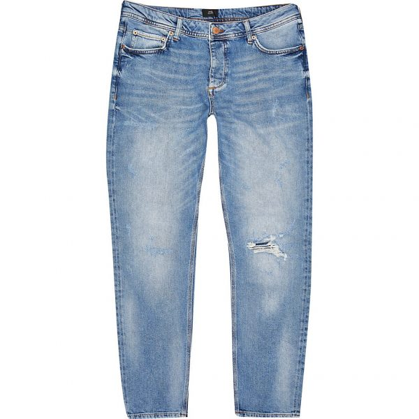 River Island Mens Blue Dylan ripped slim fit jeans