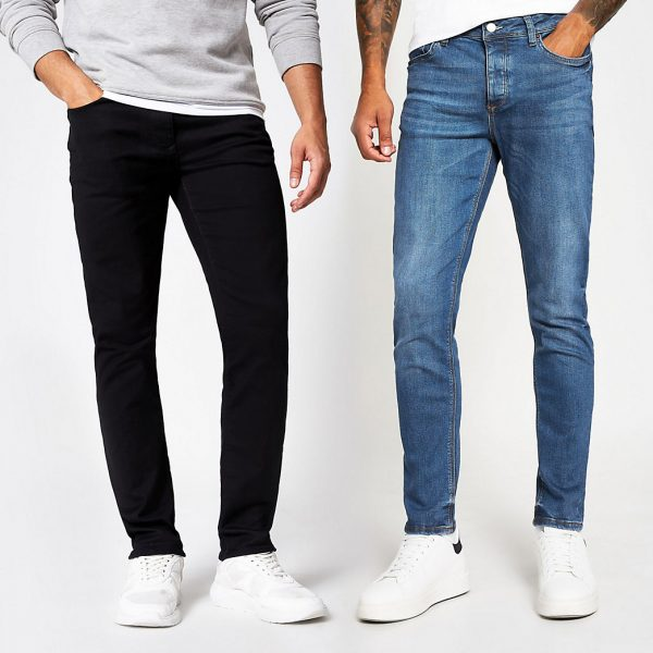 River Island Mens Blue & black Dylan slim fit jeans 2 pack