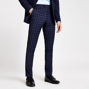River Island Mens Blue check skinny suit trousers