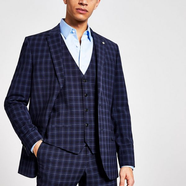 River Island Mens Blue check suit waistcoat