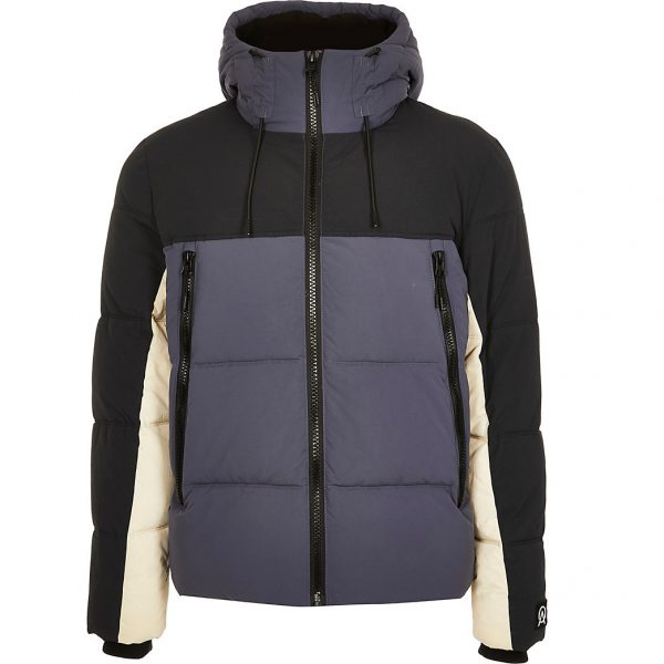 River Island Mens Blue colour block hooded puffer jacket
