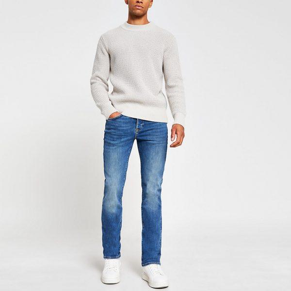 River Island Mens Blue denim rustic bootcut jeans