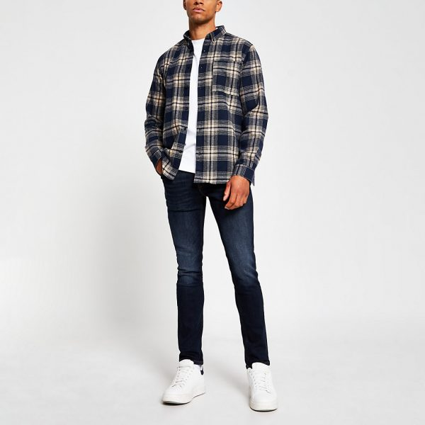 River Island Mens Blue denim skinny fit jeans