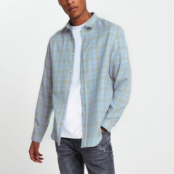 River Island Mens Blue long sleeve check regular fit shirt