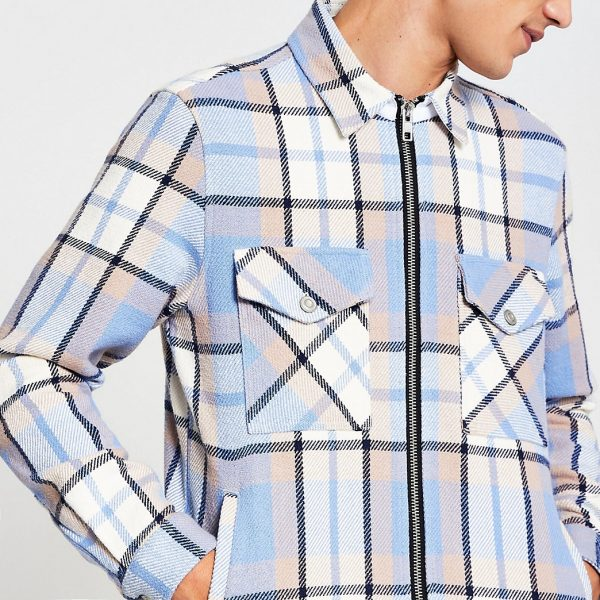 River Island Mens Blue long sleeve check zip front shacket