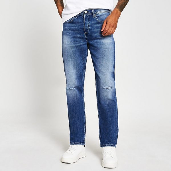River Island Mens Blue mid wash Dean straight fit jeans