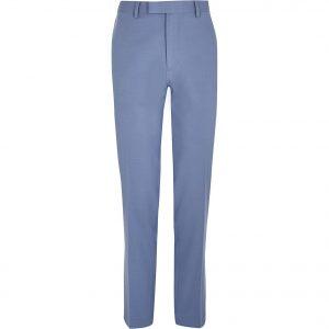 River Island Mens Blue slim fit suit trousers