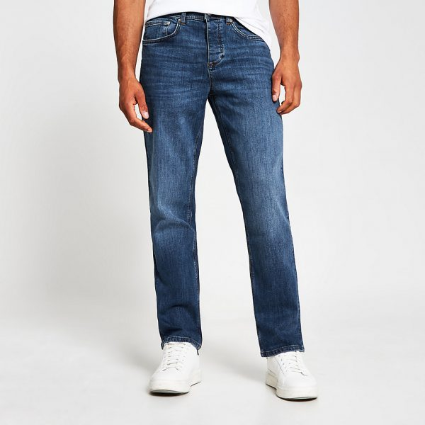 River Island Mens Blue straight fit jeans
