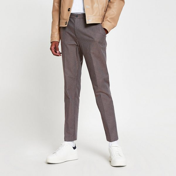 River Island Mens Brown check super skinny fit trousers
