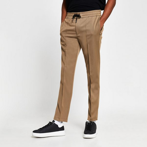 River Island Mens Brown slim fit tailored joggers