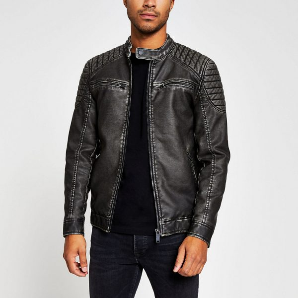 River Island Mens Charcoal grey faux leather quilted jacket