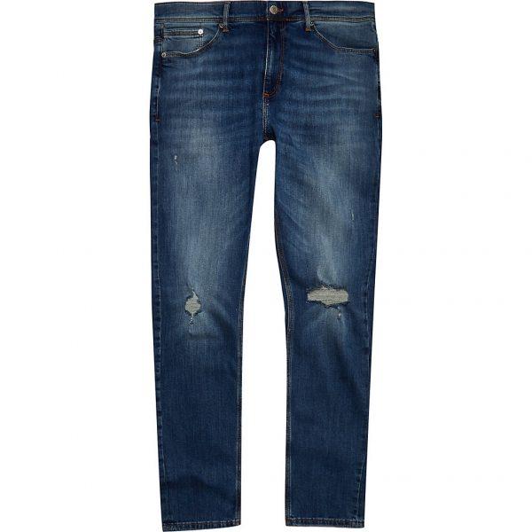 River Island Mens Dark blue Sid skinny ripped jeans