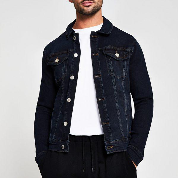 River Island Mens Dark blue denim jacket