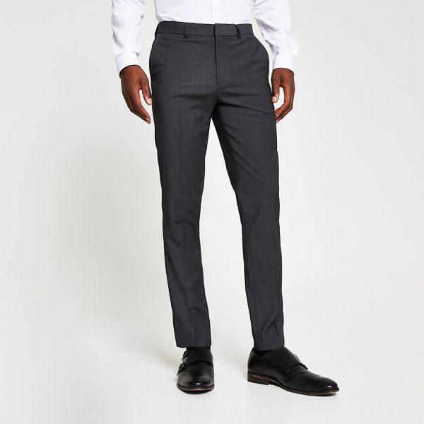 River Island Mens Dark grey skinny fit smart trousers