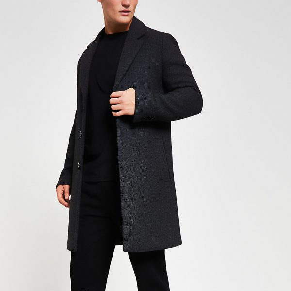 River Island Mens Dark grey twill wool overcoat