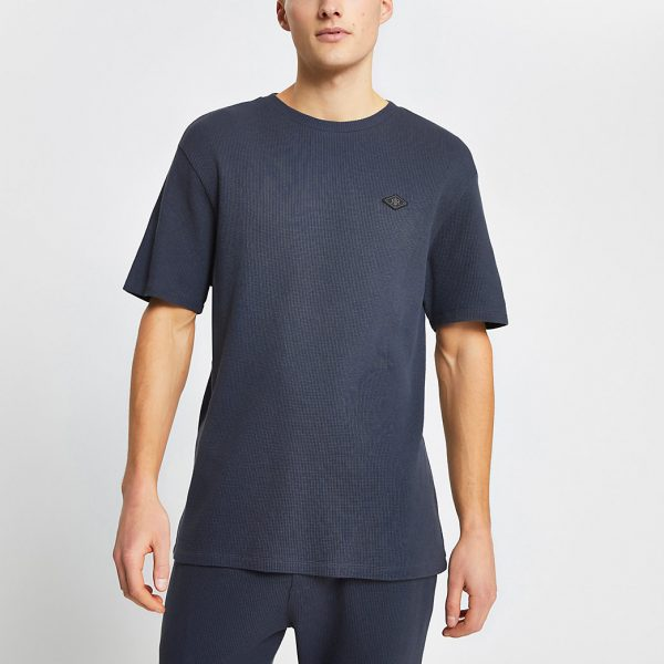 River Island Mens Dark grey waffle short sleeve pyjama t-shirt