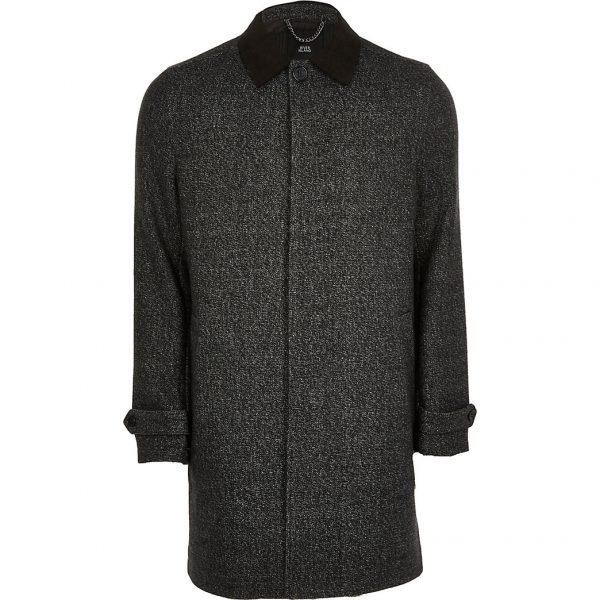 River Island Mens Dark grey wool blend coat