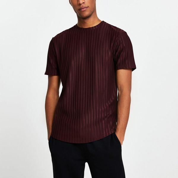 River Island Mens Dark red ribbed short sleeve t-shirt