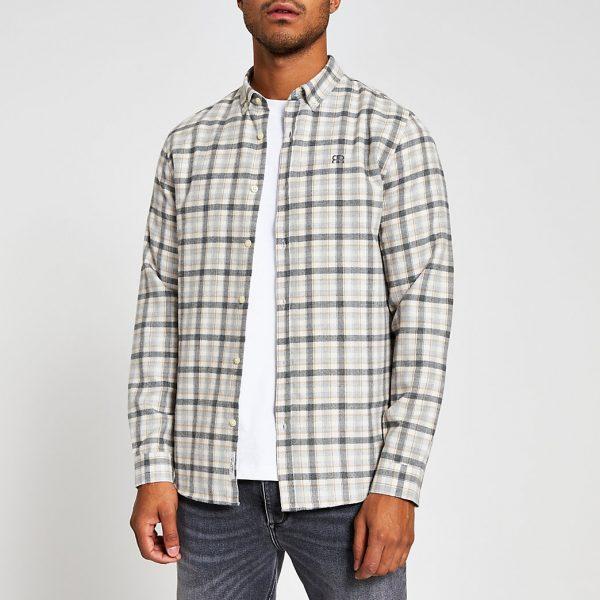 River Island Mens Ecru check long sleeve regular fit shirt