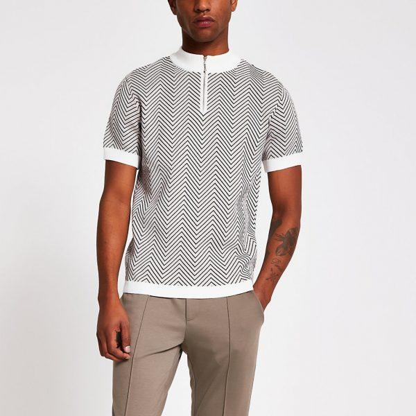 River Island Mens Ecru jacquard half zip slim fit knit T-shirt