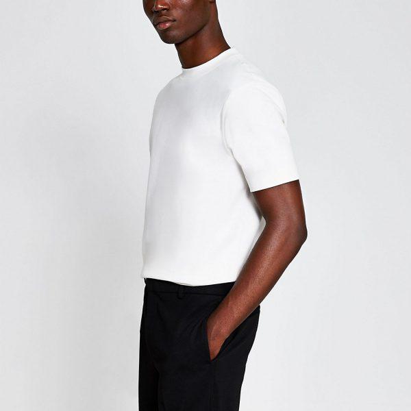 River Island Mens Ecru slim fit T-shirt