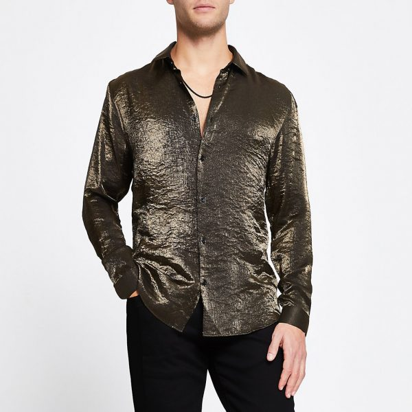 River Island Mens Gold long sleeve slim fit shirt