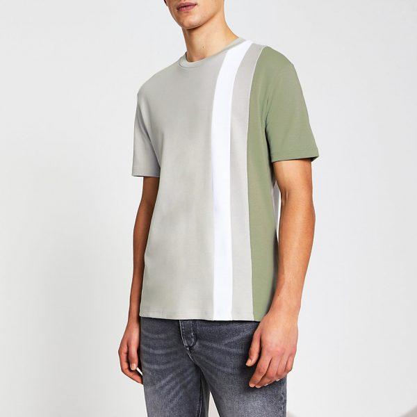 River Island Mens Green colour block slim fit t-shirt