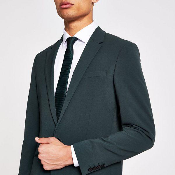 River Island Mens Green super skinny suit jacket