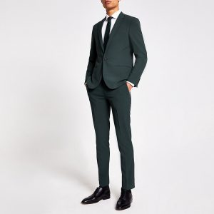 River Island Mens Green super skinny suit trousers