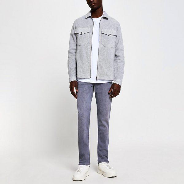 River Island Mens Grey Dylan slim fit jeans