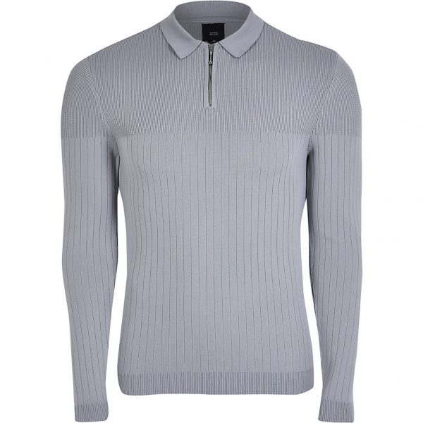 River Island Mens Grey Mid LS MS Smart Ribbed Polo