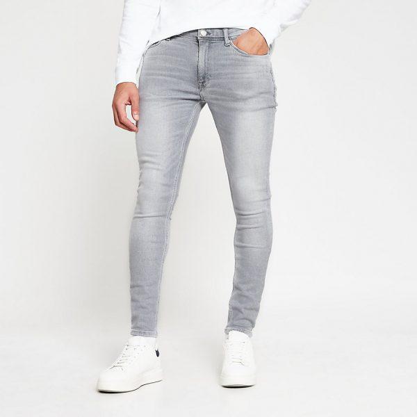 River Island Mens Grey Ollie super skinny spray on jeans