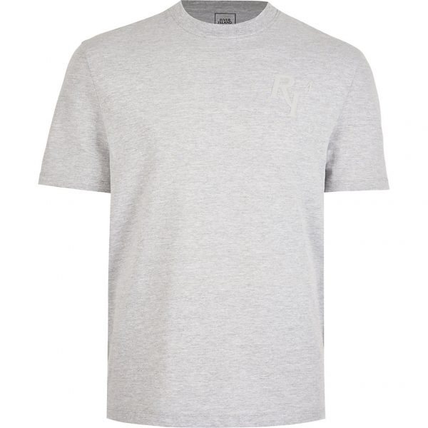 River Island Mens Grey RI short sleeve t-shirt