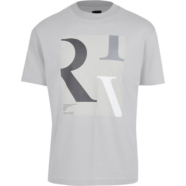 River Island Mens Grey 'RIV' box print t-shirt