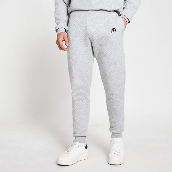 River Island Mens Grey RR quilted loungewear joggers