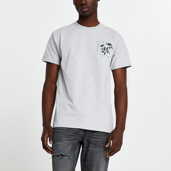 River Island Mens Grey 'River' floral logo slim fit t-shirt